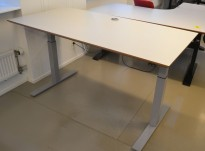 Skrivebord med elektrisk hevsenk i lys grå / grå, 160x80cm, pent brukt