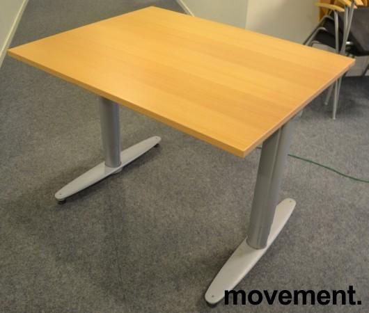 Kinnarps T-serie kompakt elektrisk hevsenk skrivebord 100x80cm i bøk, pent brukt bilde 2