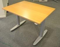 Kinnarps T-serie kompakt elektrisk hevsenk skrivebord 100x80cm i bøk, pent brukt