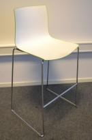 Barkrakk: Arper Catifa 46 i hvitt / grønt / krom, 76cm sittehøyde, pent brukt