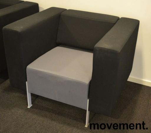 Loungestol fra Kinnarps, modell PIO i sort/grått, 94cm bredde, pent brukt bilde 2