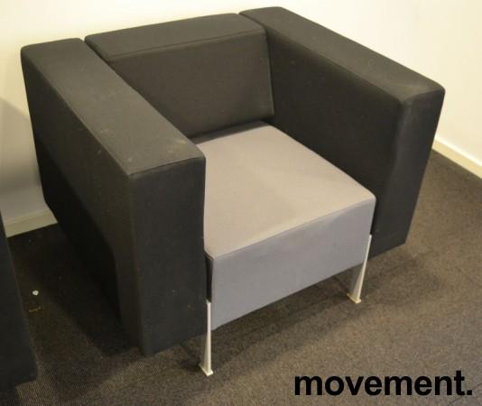 Loungestol fra Kinnarps, modell PIO i sort/grått, 94cm bredde, pent brukt bilde 1