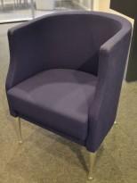Kinnarps Arriba loungestol i blått stoff, pent brukt