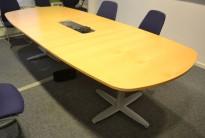 Møtebord i bøk / grått, Kinnarps T-serie, 280x120cm, passer 8-10 personer, pent brukt