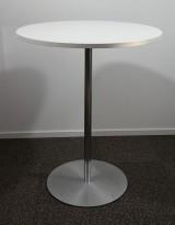 Barbord / ståbord i hvitt / satinert stål, Ø=90cm, høyde 105cm, pent brukt understell med ny plate
