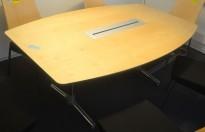 Møtebord / konferansebord ForaForm Next i bjerk med grå kant / krom, 270x110cm, passer 8-10 personer, pent brukt