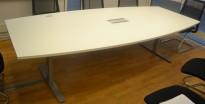 Møtebord / konferansebord i hvitt / grålakkert metall, 270x120cm, passer 8-10 personer, pent brukt