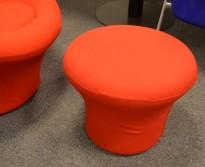 Loungepuff i rødt  fra Artifort, modell: Mushroom P, Design: Pierre Paulin, pent brukt