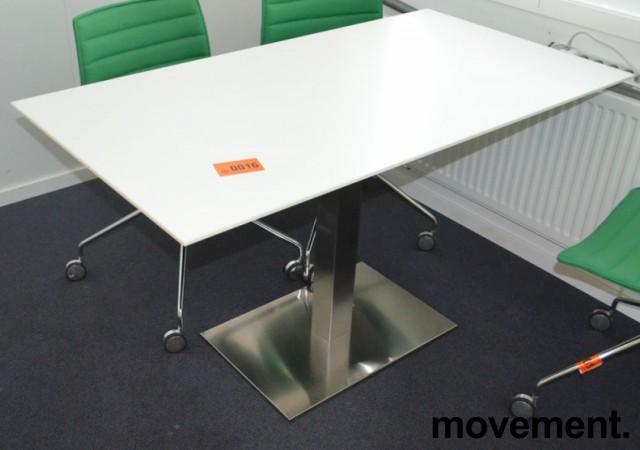 Kompakt møtebord / konferansebord i hvitt med satinert fot, 130x70cm, pent brukt bilde 1