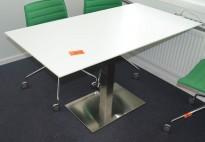 Kompakt møtebord / konferansebord i hvitt med satinert fot, 130x70cm, pent brukt