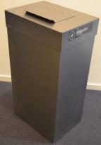 Søppelbøtte / kildesortering for matavfall i grålakkert metall fra Røros produkter på hjul, pent brukt