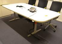 Møtebord / konferansebord med elektrisk hevsenk i hvitt fra Edsbyn, 220x117/102cm, passer 6-8 personer, pent brukt
