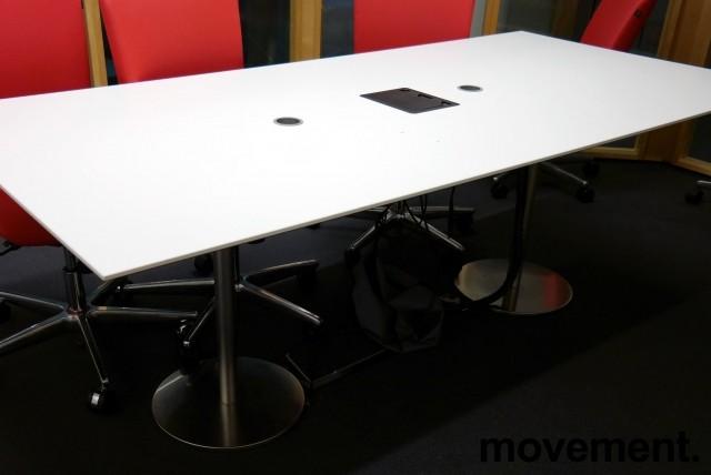 Møtebord i hvitt / satinert stål, 210x100cm, passer 6-8 personer, pent brukt bilde 1