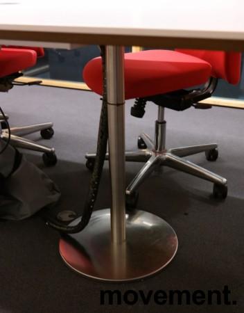 Møtebord i hvitt / satinert stål, 210x100cm, passer 6-8 personer, pent brukt bilde 4