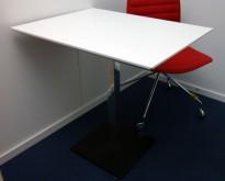 Lite møtebord / konferansebord i hvitt / sort / krom, 80x60cm, pent brukt