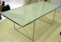 Spisestuebord fra Ikea i glass / grålakkert metall, 200x85cm, pent brukt