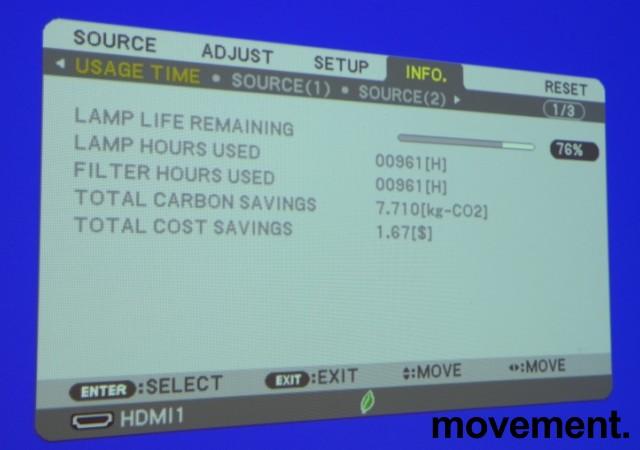 Prosjektor: NEC ME301W, 1280x800 WXGA, Widescreen, HDMI, kun 960timer på pære, pent brukt bilde 3