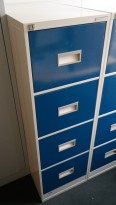 Arkivskap fra Høvik Stål, 4skuffers, høyde 131,5cm, blå skuffer, retrostil, pent brukt