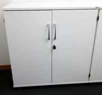 Kinnarps E-serie ringpermreol med dører, hvit, 2permhøyder, 85cm høyde, pent brukt