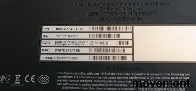 Cisco Telepresence CTS-SX20CODEC, 1080p kamera, bordmikrofon, fjernkontroll, pent brukt bilde 2