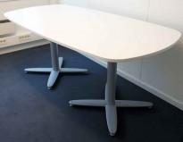 Kinnarps møtebord i hvitt, grått understell, T-serie 180x90cm, passer 6-8 personer, pent brukt