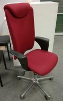 Savo Apollo kontorstol i rødt stoff, nakkepute og armlene, pent brukt