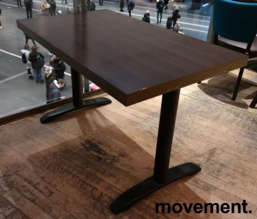 Kafebord med bordplate i brunt / understell i sortlakkert metall, 120x70cm bordplate, 75cm høyde, pent brukt bilde 2