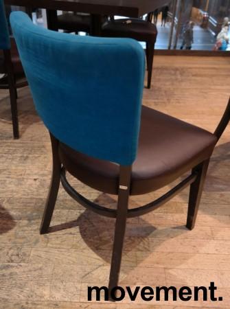 Solid kaféstol / restaurantstol fra Ton med sete i brun skinnimitasjon og rygg i mørk turkis stoff, pent brukt bilde 2