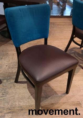 Solid kaféstol / restaurantstol fra Ton med sete i brun skinnimitasjon og rygg i mørk turkis stoff, pent brukt bilde 1
