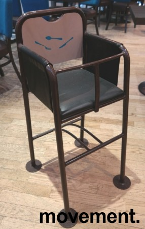 Babystol / barnestol i brunlakkert metall / skai, brukt bilde 1