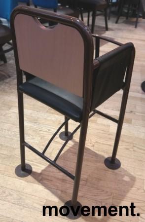 Babystol / barnestol i brunlakkert metall / skai, brukt bilde 2