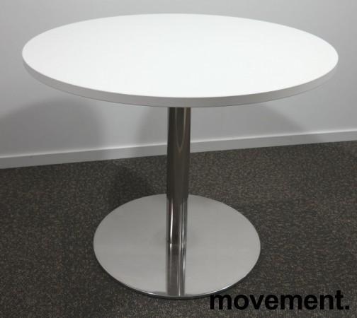 Lite, rundt møtebord med hvit bordplate, Ø=90cm, H=73cm, krom understell, pent brukt understell med ny plate bilde 1