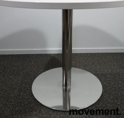 Lite, rundt møtebord med hvit bordplate, Ø=90cm, H=73cm, krom understell, pent brukt understell med ny plate bilde 2