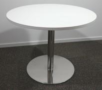 Lite, rundt møtebord med hvit bordplate, Ø=90cm, H=73cm, krom understell, pent brukt understell med ny plate