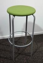 Kinnarps Frisbee barkrakk, sete med grønt stoff, grått understell, 79cm sittehøyde, pent brukt