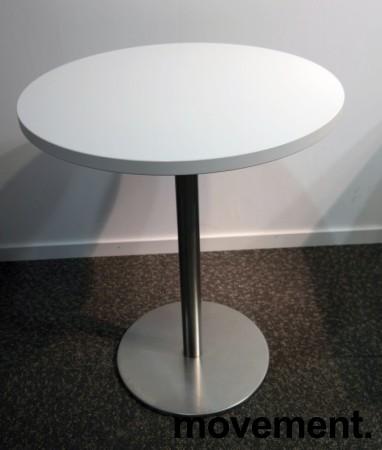 Lite, rundt møtebord, hvit plate, satinert stål understell, Ø=60cm, H=74cm, pent brukt understell med ny plate