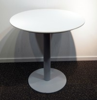 Lite, rundt møtebord, hvit plate, grått understell, Ø=70cm, H=73cm, pent brukt