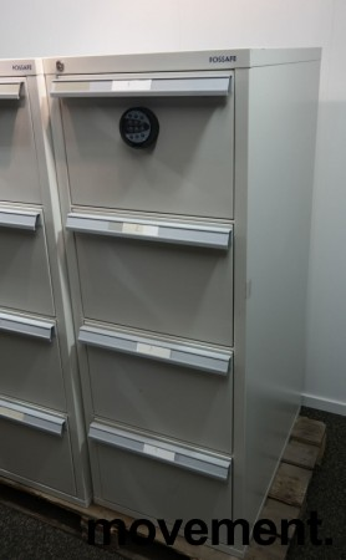 Fossafe 4 skuffers brannskap / brannsikkert arkivskap med kodelås, 142cm høyde, grått, pent brukt bilde 5