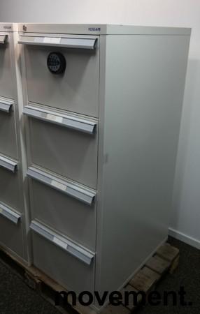 Fossafe 4 skuffers brannskap / brannsikkert arkivskap med kodelås, 142cm høyde, grått, pent brukt bilde 3