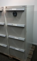 Fossafe 4 skuffers brannskap / brannsikkert arkivskap med kodelås, 142cm høyde, grått, pent brukt