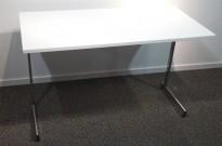 Konferansebord / klappbord i hvitt / krom, 120x60cm, pent brukt
