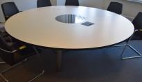 Rundt møtebord / konferansebord i hvitt med sort kant, glassplate i sort i midten, Ø=240cm, pent brukt