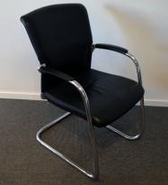 Konferansestol i sort skinn / krom fra Sedus, pent brukt