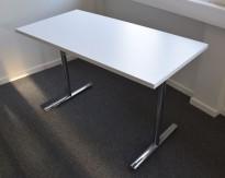 Konferansebord / klappbord i hvitt / krom fra Howe, 120x60cm, pent brukt
