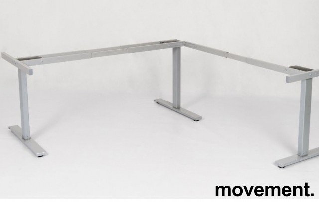 Linak grått understell til hjørneskrivebord med elektrisk hevsenk / understell til hjørneskrivebord, NY/UBRUKT
