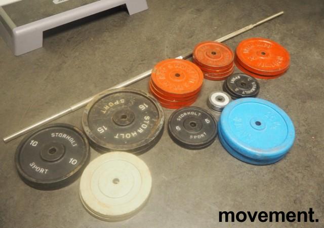 Vektskiver med stang for styrketrening, se liste, pent brukt bilde 2