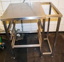Oppvaskstativ / benk i rustfritt stål, for 3 stk oppvaskbakker, 78cm bredde, 89cm høyde, pent brukt