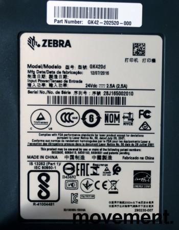 Zebra etikettskriver GK420d med USB, pent brukt 2016-modell bilde 2