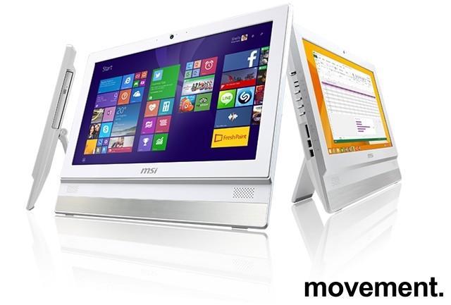 MSI Alt-i-ett PC i hvitt med innebygget skjerm: Adora 20, Intel J1900 / 4GB / 500GB, Win10, pent brukt bilde 5