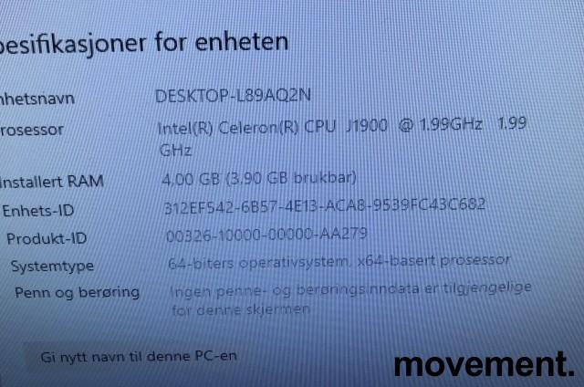 MSI Alt-i-ett PC i hvitt med innebygget skjerm: Adora 20, Intel J1900 / 4GB / 500GB, Win10, pent brukt bilde 4